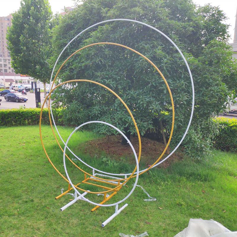 Bruiloft אבזרי verjaardagsfeestje דקור smeedijzeren cirkel רונד טבעת boog achtergrond boog gazon kunstmatige bloem rij stand