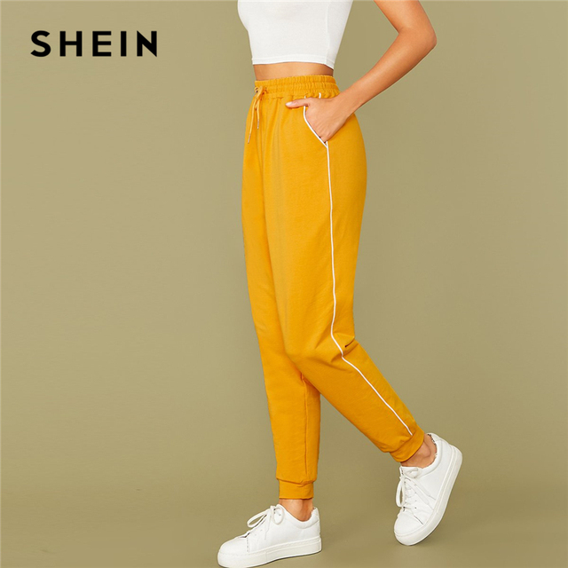 SHEIN Bright Yellow Drawstring Waist Contrast Piping Carrot Pants Women Autumn Active Wear High Waist Stretchy Casual Trousers