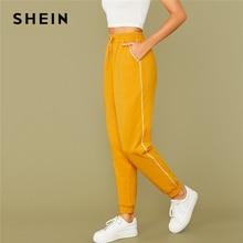 Женские брюки с высокой талией SHEIN, ярко желтые эластичные повседневные брюки с завязками на талии, для активного отдыха и осени