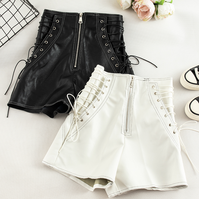 High Waist PU Leather Shorts Women  New Autumn And Winter Sexy Shorts Bandage Slim Black Leather Tight