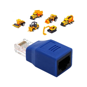 1x Connected Crossover Cable RJ45 M/F Adapter & 6PCS 6 in 1 Metal Diecast Engineering Toy Vehicle Alloy