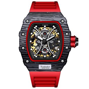 2021 nowy stylowy zegarek męski zegarek mechaniczny w pełni automatyczny Hollow o specjalnym kształcie Luminous Top dziesięć marek tanie i dobre opinie BINKADA 3Bar CN (pochodzenie) Sprzączka SPORT GOLF Mechaniczna nakręcana wskazówka Samoczynny naciąg 23cm Z włókna węglowego