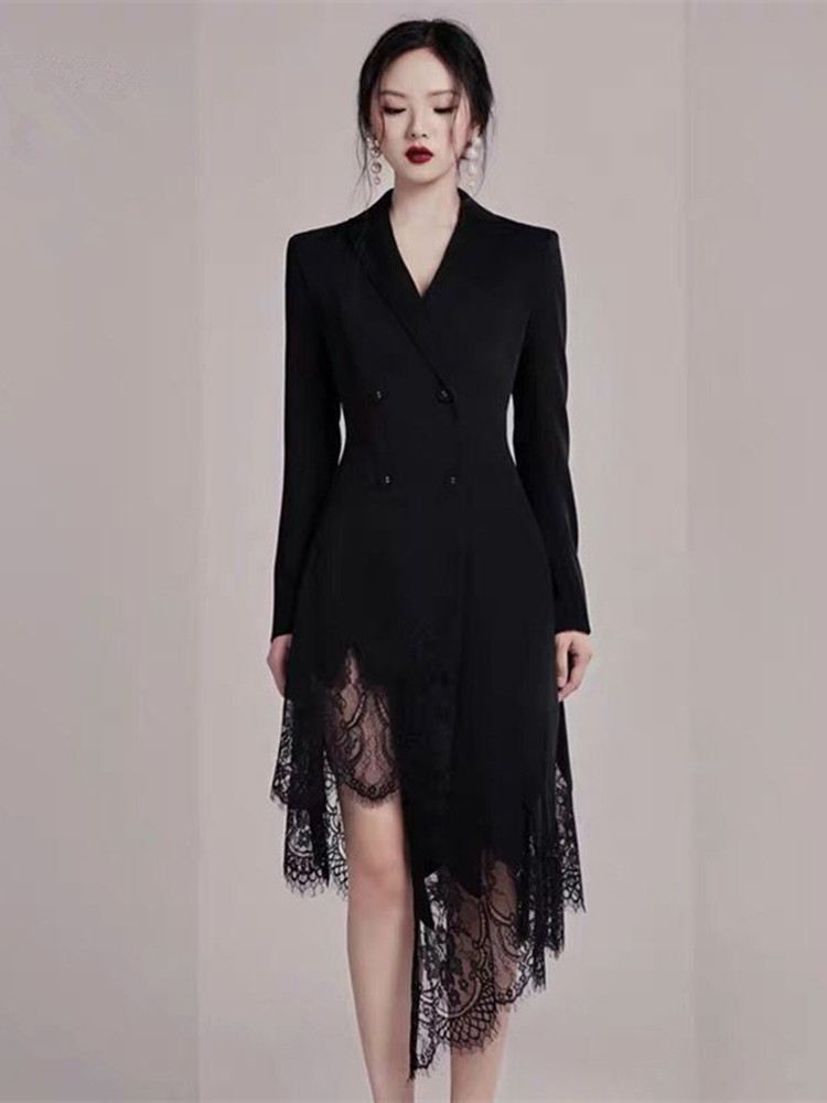 2020 Autumn Elegant Lace Patchwork Long Women Blazer Dress Female Long Sleeve Notched Double-breasted Black Asymmetrical Dresses