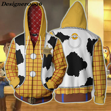 Movie Toy Story 4 Woody Cosplay Costume Sherif and Buzz Lightyear cosplay 3D Print Zip Hooded Sweater Halloween