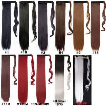 S-noilite 24'' Long Straight Synthetic Ponytail Wrap Around Clip In Ponytail Hair Extensions Heat Resistant Hair Tail 5