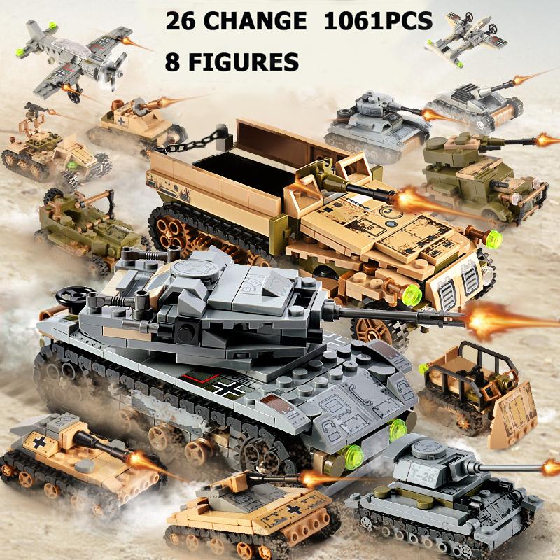 1061PCS Tank Building Blocks Toys Mini figures Vehicle Aircraft Boy Educational Block Military Compatible Bricks
