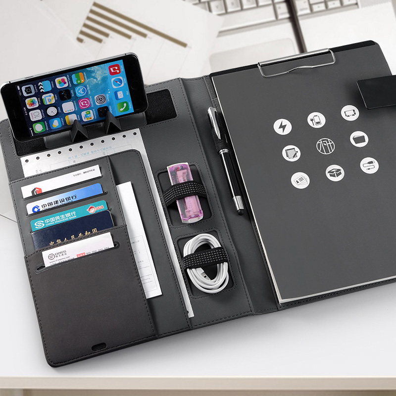 Trends Business File Folder A4 Conference Folder Padfolio For Doucments With Foldable Mobile Stand Rack Clasp Lock Notebook