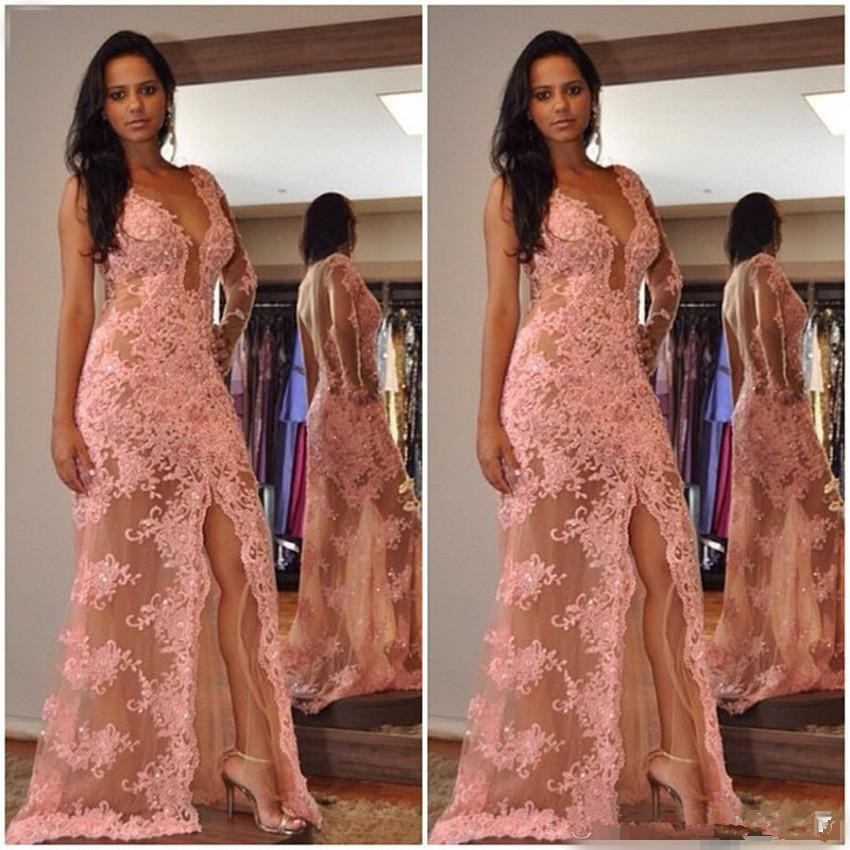 Sexy   Prom     Dress   2019 A-line Deep V-neck Tulle Appliques Beaded Slit Backless Women Long   Prom   Gown Evening   Dresses   Robe De Soiree