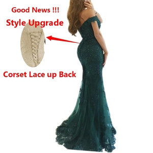 Image 2 - In Stock Formal Lace Mermaid Evening Dresses Sweetheart vestidos de fiesta Off the Shoulder Party robe de soiree Prom Gowns