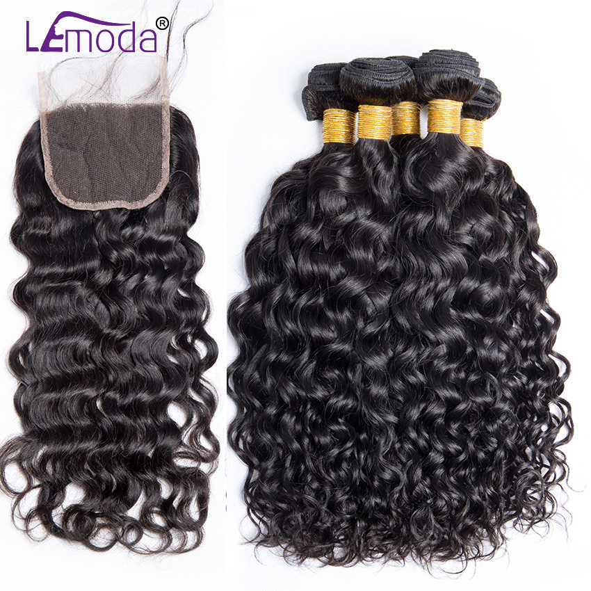 Lemoda Indian Water Wave Bundles With Closure Human Hair Bundles With Middle Part Closure Remy Hair Extensions Color 1B