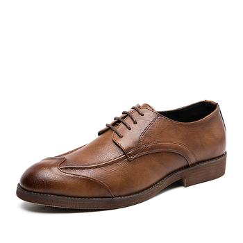 Luksusowe buty dla mężczyzn popularne męskie sznurowane Casual wskazał modne skórzane buty modne buty do biura Homme Outdoor Sneakers tanie i dobre opinie quaoar RUBBER mens dress shoes Slip-on Pasuje prawda na wymiar weź swój normalny rozmiar Oksfordzie Graniczy Masaż Wysokość zwiększenie