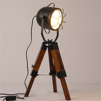 American Country Retro Table Lamps LOFT Simple Tripod Decoration Lamp Table Light Rotatable Wooden Home Deco Side Table Lantern