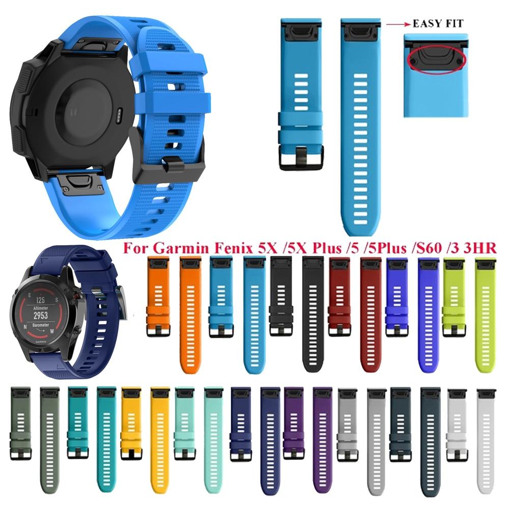 26 22 20mm Sport Silicone Strap For Garmin Fenix 6X 5X 6 5 6S 5S Plus 3 3HR Forerunner935 Quick Release Smart Wristband Bracelet