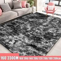 Moderno nórdico tie dye gradiente tapete quarto sala de estar retangular tapete variegated macio e confortável área tapete preto|Tapete| |  -
