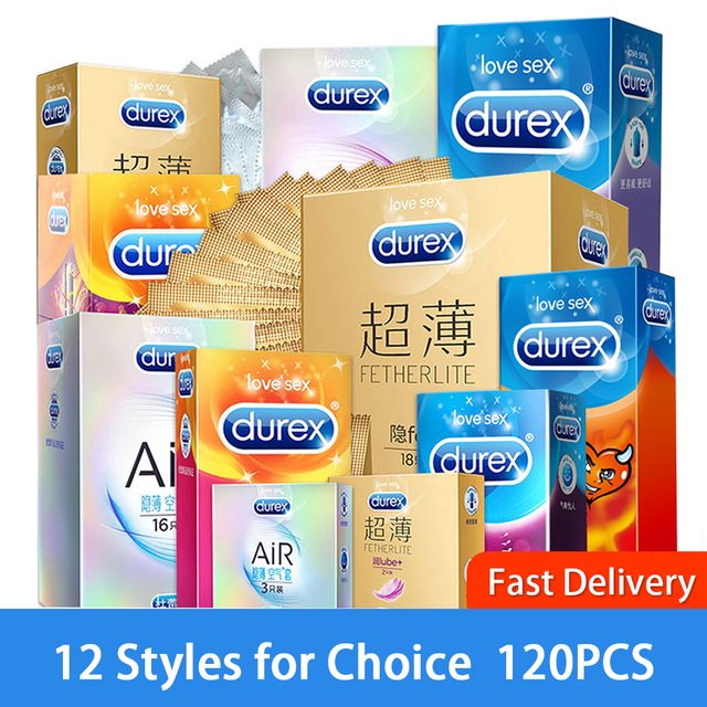 Durex Condom 100Pcs Box Ultra Thin Natural Latex Smooth Lubricated Contraception 12 Types Condoms for Men Sex Toys Adult Product