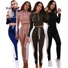 New hot fashion fitness pants stretch high waist womens trousers casual sexy striped shirt Slim ladies two-piece suit