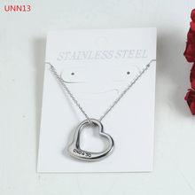 Moda feminina masculino cor de prata ouro aço inoxidável oco coração fechadura chave redonda uno 50 jóias neckalce