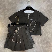 Лето карманный обрезать цепь топ с плиссированной Оснастки юбка набор женщин двух частей комплекта учащихся девочек юбки купить отдельно