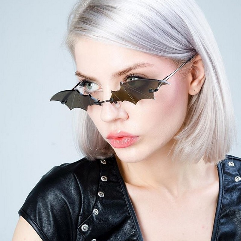 JASPEER Fashion Sunglasses Women Men Rimless Vintage Bat Shape Glasses Eyewear Luxury Brand Trending Sunglasses For