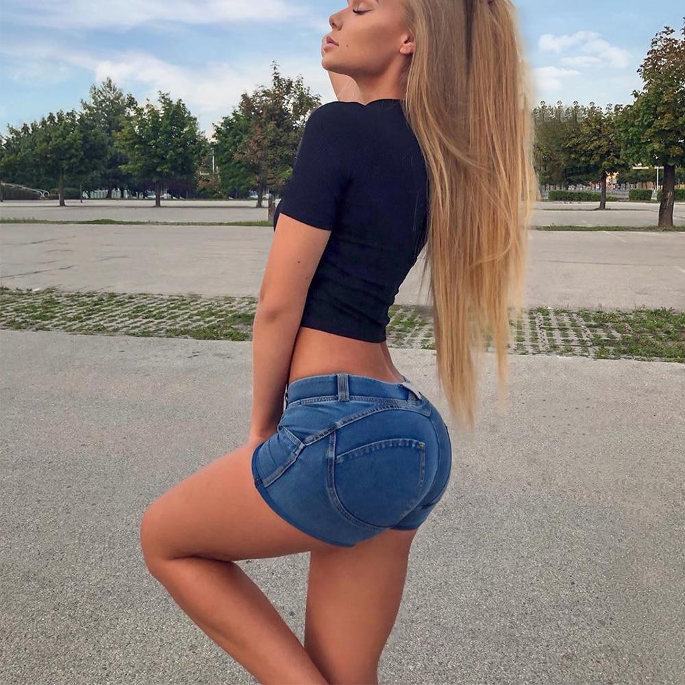 Four Ways Stretchable Melody Pants Summer Women Shorts Jeans In Denim Blue Femme Push Up Short Pants