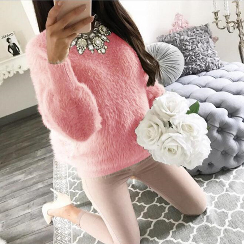 2019 Women Plush Sweaters And Pullovers Autumn Winter Long Sleeve Solid Knit Pullover Female Casual Knitted Sweater Pull Femme