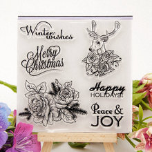 Merry Christmas Transparent Stamps for DIY Scrapbooking Card Fawn Flower Clear Stamps Making Album paper Craft Decoration Stamps merry christmas tree sticker painting stencils for diy scrapbooking stamps home decor paper card template decoration album craft