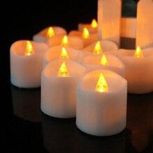 Светодиодный беспламенный с батареей свечи светильник светодиодный чай светильник s свечи лампа бездымного дома мерцающий Романтический День рождения