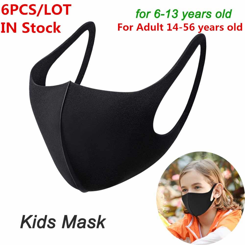 1Pcs 3PCs 6Pcs Black Mask Mouth Cover Reusable Dust Mask Filter Breathable Face Muffle Men Women Respirator