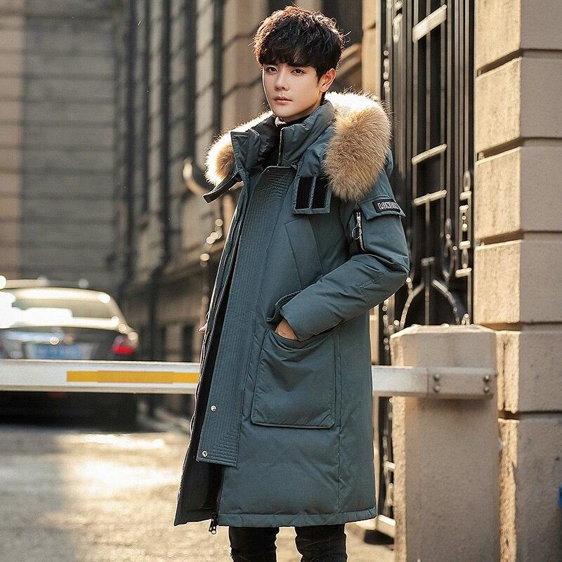 Brand Winter Parkas Men Down Jacket Coat Thick Warm Fur Hooded Overcoat Long Clothes Big Pockets Medium Style Coat KK3180