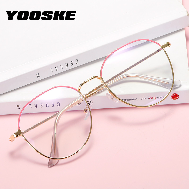 YOOSKE Anti Blue Ray Finished Myopia Glasses Women Irregular Metal Eyeglasses Frames For Men Shortsighted Eyewear -1.0 4.5