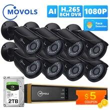 Movols 8CH AI sistema di telecamere a circuito chiuso 1080P telecamera di sorveglianza di sicurezza DVR Kit sistema di videosorveglianza domestica esterna impermeabile