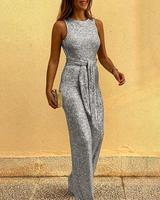 Women Glitter Round Neck Streetwear Jumpsuits Slim Fit Sleeveless Backless Sequins Jumpsuit With Belt