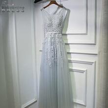 Кружевное длинное вечернее платье с двойным v-образным вырезом, шифоновые вечерние выпускные платья с жемчугом, вечерние платья