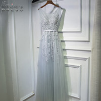 Sexy Deep V Back Lace Long Evening Dress Robe De Soiree In Stock Grey Tulle Appliques Evening Party Dresses with Pearls