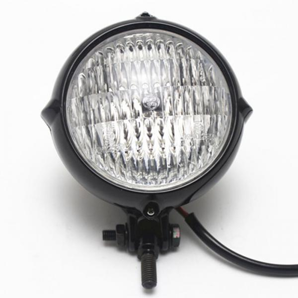 Motorcycle Headlight Moto Light Lamp For  Bobber Chopper Black+Clear