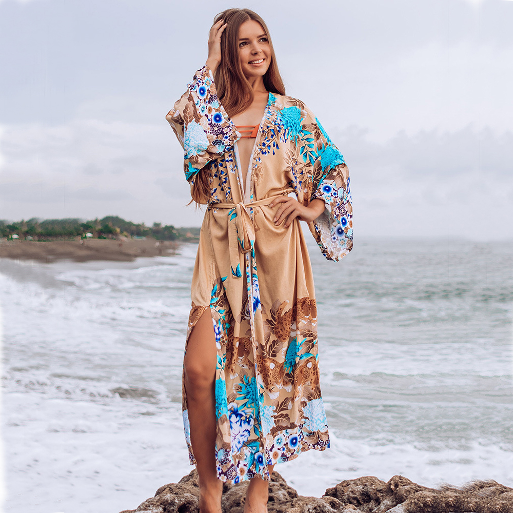 Beach Dress Women 2020 Bikini Cover Up Print Tunic Floral Long Beachwear Plus Size Bathing Suits Cover-Ups Long Sleeve Swimsuit