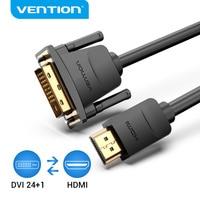 Convenio de Cable DVI a HDMI DVI-D 24 + 1 Pin Cable macho a macho HD 1080P HD Convertidor para PS4 proyector Cable HDTV Adaptador HDMI a DVI