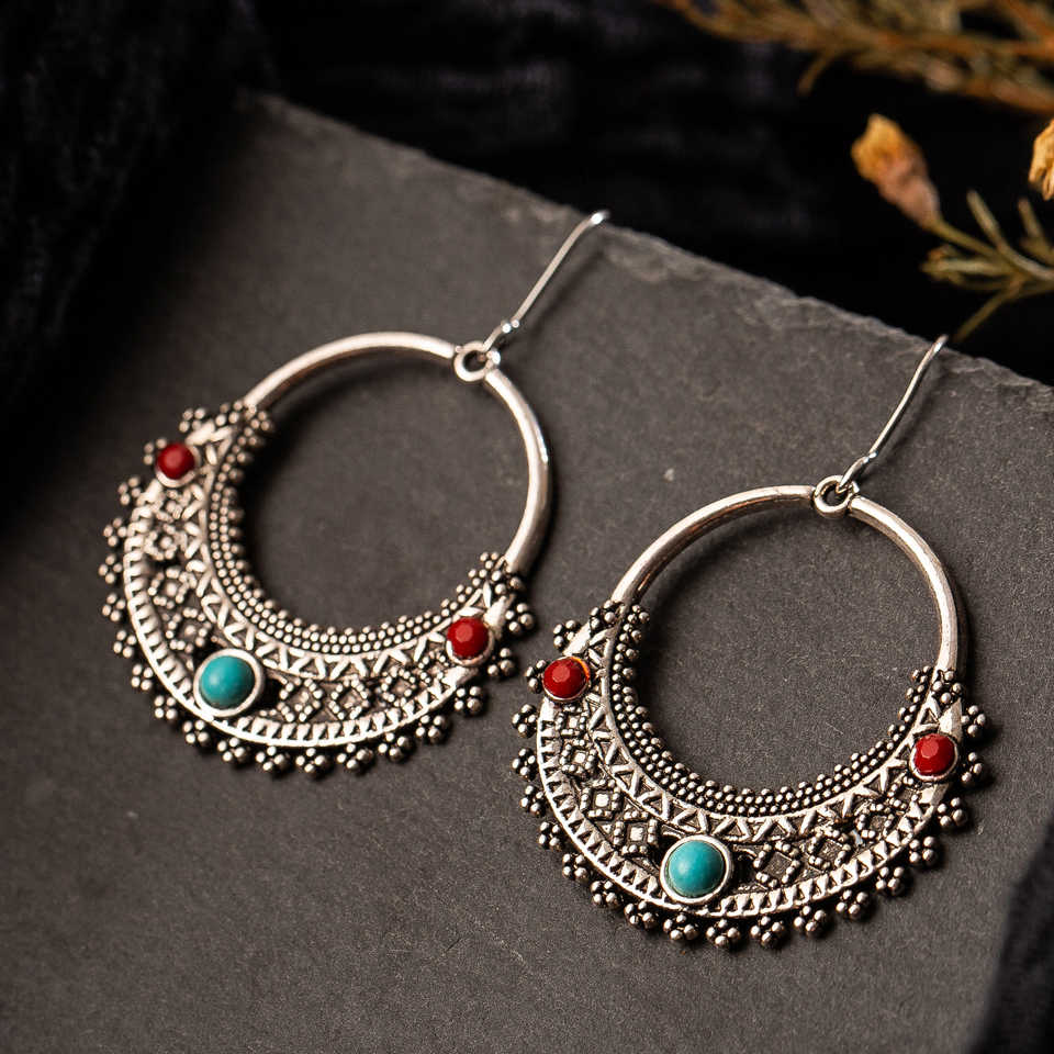 Silver fashion earrings 2019 vintage antique stone round dangle drop earrings for women indian bride gift jewelry Accessories