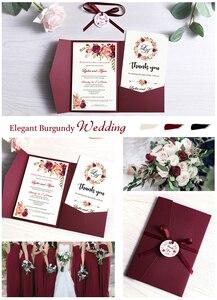 Image 5 - 50 шт. свадебные приглашения, синие карманные поздравительные открытки бордового цвета с конвертом, индивидуальная вечеринка с лентой и биркой