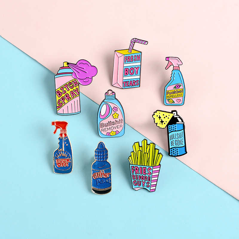 Anti Tombol Pins Deterjen Kotak Drink Bahasa Perancis Goreng Pink Enamel Pin Lencana Besar Spray Bros untuk Wanita Perhiasan Hadiah
