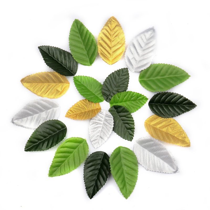 200pcs Green Artificial Leaves For Wedding Decoration Garland Rose Leaf Decorative scrapbooking Craft Fake Flowers Accessories