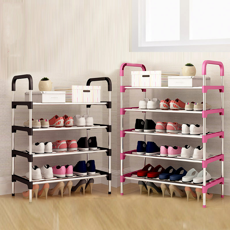 Metal DIY Assembly Shoe Rack Space Saving  Shoe Shelf For Closet With Handrail Cabinet Shoes Home Furniture