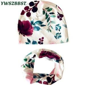 2021 nova primavera algodão bebê chapéu conjunto rosquinhas flores impressão boné cachecol para meninos meninas outono inverno infantil chapéus do bebê boné