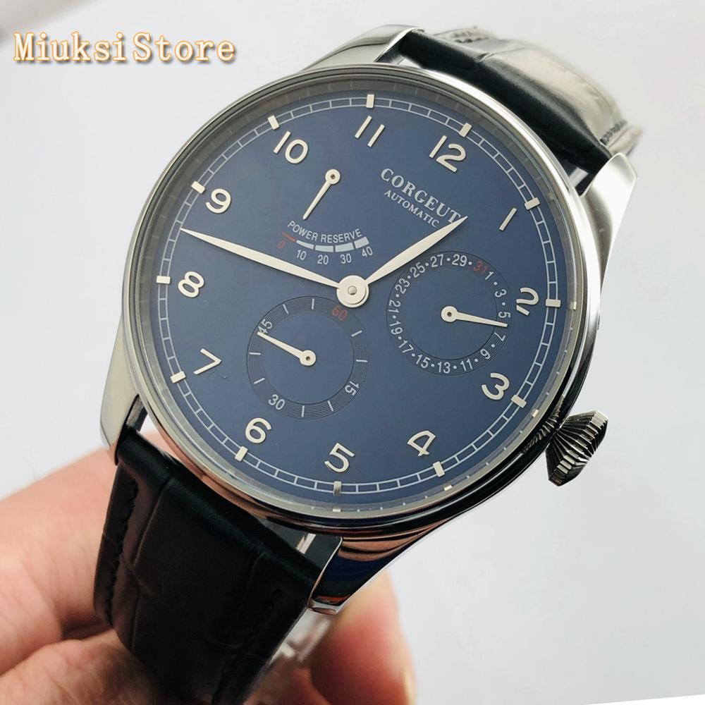 2020 new 42mm Corgeut silver case sapphire glass blue dial date waterproof seagull movement automatic mens top luxury watch
