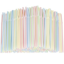 QDRR 300 Pack Disposable Straws Flexible Plastic Straws Striped Multi Color Rainbow Drinking Straws Bendy Straw Bar Accessories