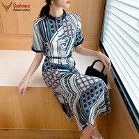 High end silk dress women stand collar beaded temperament short sleeved dress new heavy 26mm stretch satin geometric print dress