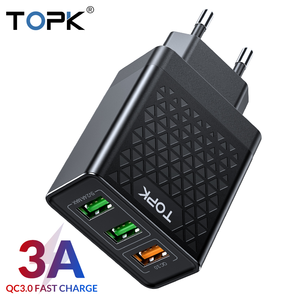 TOPK B354Q <font><b>30W</b></font> Fast <font><b>USB</b></font> <font><b>Charger</b></font> Quick Charge 3.0 Mobile <font><b>Charger</b></font> for iPhone Samsung QC 3.0 Wall Auto Phone image