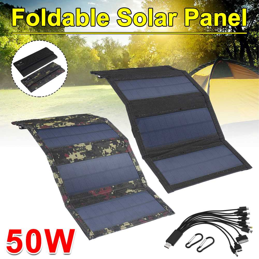 Painel solar dobrável 50w 5v células solares de energia solar pacote de dobramento 10in1 cabo usb carregador solar portátil para o telefone acampamento