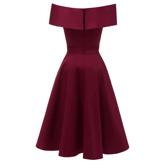 Dressv burgundy cocktail dress cheap off the shoulder short sleeves graduation party dress elegant fashion cocktail dress 1