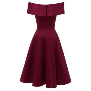Image 2 - Dressv burgundy cocktail dresses off the shoulder short sleeves graduation celebrity dresses elegant fashion elegant ball gown